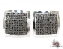 White Gold Round Cut Micro Pave Black Diamond Earrings Mens Diamond Earrings