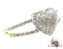 Yellow Gold Round Cut Pave Prong Diamond Heart Ring Womens Diamond Rings