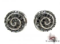 White Gold Round Cut Prong Black Diamond Earrings Diamond Earrings For Women
