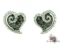 White Gold Round Cut Tension Prong Diamond Heart Earrings Stone