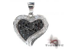 White Gold Round Cut Tension Prong Diamond Heart Pendant Diamond Heart Pendants