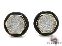 Yellow Gold Round Cut Prong Diamond Earrings メンズ ダイヤモンドイヤリング ピアス