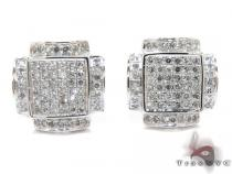 White Gold Round Cut Prong Diamond Earrings Mens Diamond Earrings
