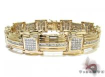 Yellow Gold Round Princess Cut Channel Invisible Diamond Bracelet Mens Diamond Bracelets