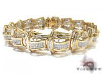 Yellow Gold Princess Cut Channel Invisible Diamond Bracelet Mens Diamond Bracelets