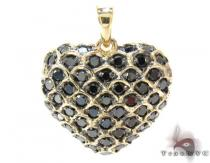 Yellow Gold Round Cut Prong Black Diamond Heart Pendant Style