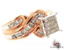 Rose Gold Princess Round Cut Invisible Channel Diamond Ring Diamond Wedding Rings