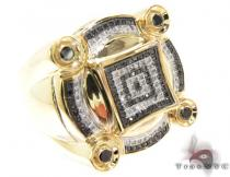 Yellow Gold Round Cut Micro Pave Bezel Diamond Ring Mens Black Diamond Rings