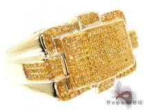 Yellow Gold Round Cut Prong Canary Color Diamond Ring Mens Diamond Rings