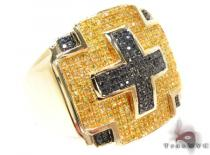 Yellow Gold Round Cut Prong Diamond Cross Ring Colored Diamond Rings