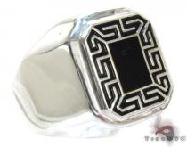 Mens Affordable Black Mayan Ring Mens Silver Rings