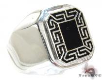Mens Affordable Black Mayan Ring Metal