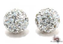 White CZ Silver Stud Earrings Metal