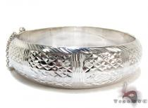 White Silver DC Bangle Sterling Silver Bracelets