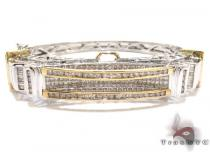Two Tone Gold Round Princess Cut Channel Diamond Bangle Bracelet ダイヤモンド バングル