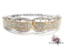 Two Tone Gold Round Princess Cut Prong Invisible Diamond Bangle Bracelet ダイヤモンド バングル
