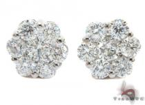 White Gold Round Cut Prong Diamond Cluster Earrings ダイヤモンド スタッズイヤリング