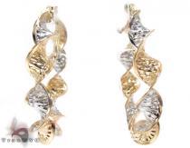 Two Tone 14K Gold Wind Hoop Earrings レディース ゴールドイヤリング