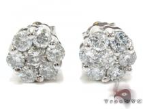 White Gold Round Cut Prong Diamond Stud Earrings ダイヤモンド スタッズイヤリング