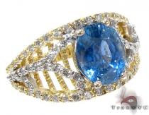 Ladies Ceylon Sapphire Diamond Ring Anniversary/Fashion