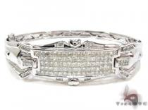 White Gold Princess Cut Invisible Diamond Bracelet ダイヤモンド バングル ブレスレット