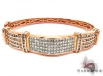 Rose Gold Round Princess Cut Channel Invisible Diamond Bracelet Diamond Bangle Bracelets