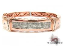 Rose Gold Round Princess Cut Channel Bezel Invisible Diamond Bracelet ダイヤモンド バングル ブレスレット
