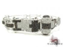 White Gold Round Cut Prong Black Diamond Bracelet ダイヤモンド バングル ブレスレット
