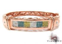 Rose Gold Princess Round Cut Multi Color Diamond Bracelet ダイヤモンド バングル ブレスレット
