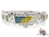 White Gold Princess Cut Invisible Multi Color Diamond Bangle Bracelet ダイヤモンド バングル ブレスレット