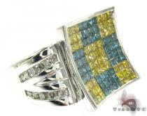 White Gold Round Princess Cut Invisible Channel Multi Color Diamond Ring メンズ ダイヤモンド リング