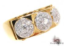 Yellow Gold Round Cut Prong Diamond Ring Mens Diamond Rings