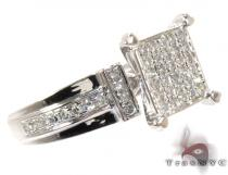 White Gold Round Cut Prong Diamond Ring ダイヤモンド 婚約 結婚指輪