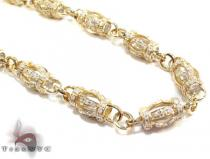 Yellow Gold Round Cut Prong Diamond Chain 30 Inches, 7mm, 70.37 Grams Diamond Chains