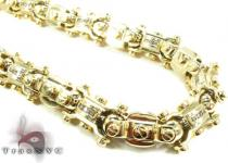 Yellow Gold Round Cut Channel Diamond Chain 28 Inches, 13mm, 242.3 Grams ダイヤモンド チェーン