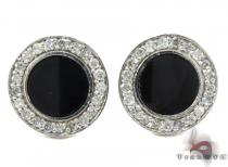 White Gold Round Cut Prong Diamond Onyx Earrings Mens Diamond Earrings