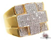 Yellow Silver Round Cut Prong Diamond Cross Ring Mens Silver Rings
