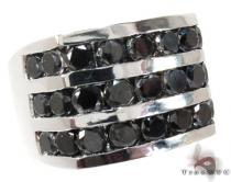 White Gold Round Cut Channel 3 Row Black Diamond Ring Mens Black Diamond Rings