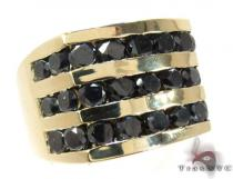 Yellow Gold Round Cut Channel 3 Row Black Diamond Ring Stone