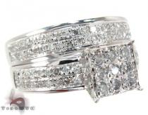 White Gold Round Cut Prong Diamond Ring Set Diamond Wedding Sets