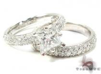 White Gold Princess Prong Cut Prong Diamond Ring Set 結婚指輪 ダイヤモンド セット