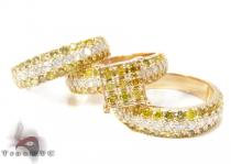 Yellow Gold Round Cut Prong Diamond Ring Set 結婚指輪 ダイヤモンド セット