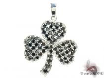 White Gold Round Cut Prong Black Diamond Clover Pendant Diamond Pendants
