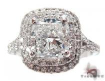 White Gold Princess Round Cut Prong Diamond Wedding Ring ダイヤモンド 婚約 結婚指輪