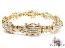 Yellow Gold Baguette Cut Channel Diamond Bracelet メンズ ダイヤモンド ブレスレット