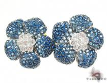 White Gold Light Blue Shades Sapphire & Diamond Flower Earrings ジェムストーンイヤリング