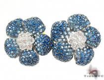 White Gold Light Blue Shades Sapphire & Diamond Flower Earrings Stone