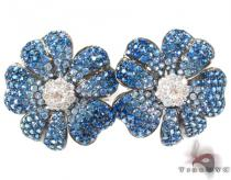 Blue Shades Sapphire & Diamond Flower Earrings ジェムストーンイヤリング
