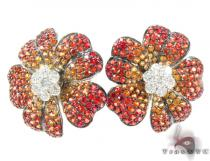 Yellow & Red Sapphire with Diamond Flower Earrings ジェムストーンイヤリング