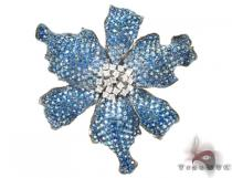 White Gold Blue Shades Sapphire & Diamond Exotic Flower Brooch ジェムストーン ペンダント